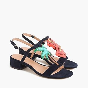 JCrew Tropical low-heel sandals in suede